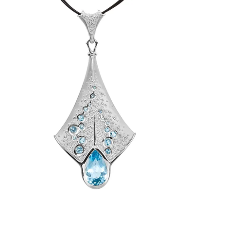14K Gold Sting Ray Aquamarine and Topaz Pendant