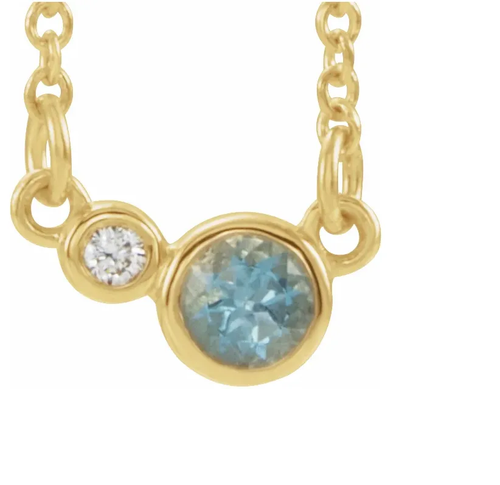 14k Gold 3mm Aquamarine and Diamond Necklace