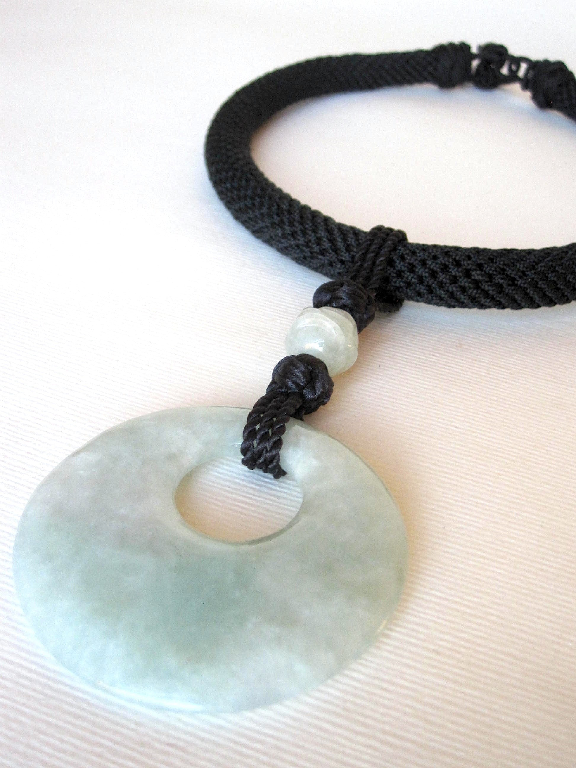 Natural Burmese Jade Black Chinese Silk Knots & Choker Necklace