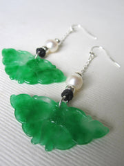 Jade Butterfly,  Fresh Water Pearls 925 Silver Beads, Hooks & Chain Black Chinese Silk Knots Earrings