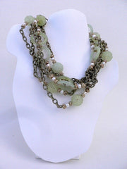 Shiu Jade. Fresh Water Pearls, Beige Silk Chain, and Beige Chinese Knots Necklace