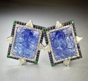 Bicolored Tanzanite Diamond Sapphire Earrings in 18k white gold