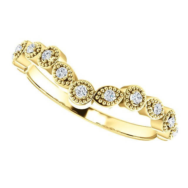 14k Gold Diamond Vintage Inspired Contour Band