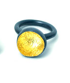 BLOOM Ring with 1 Patinated Bloom and 22k gold leaf