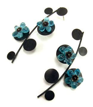 BLUE FLOWERS. Earrings