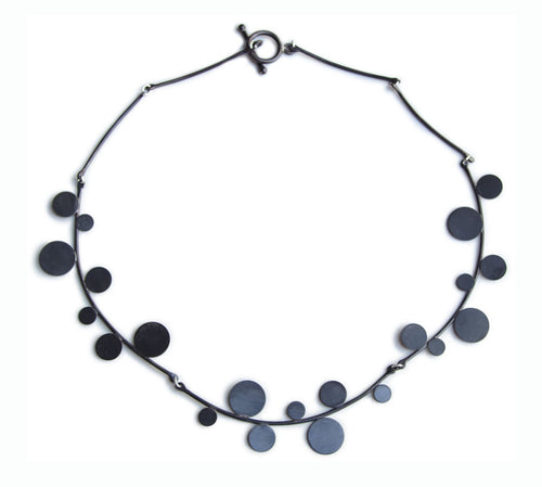 "CHERRY BLOSSOM Patinated Sterling Silver Necklace, 17"" long"