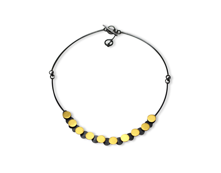 Overlapping Circles Necklace In Silver and Gold