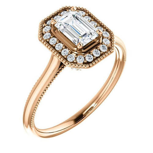 Elegant Vintage Inspired 14K Rose Gold Emerald Shape Moissanite Engagement Ring