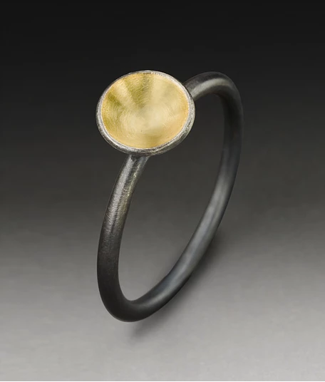 Dot Ring in Oxidized Sterling Silver and 18k Gold
