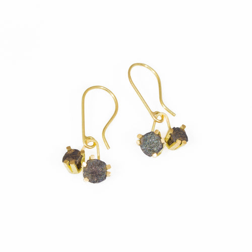 Double Nail Drop Earrings in 18k Yellow Gold