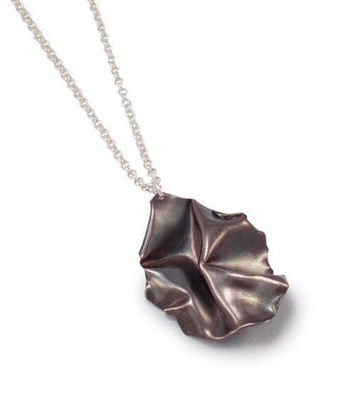 Fold Medallion Pendant in Matte Sterling Silver