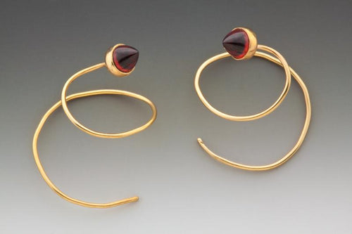Garnet Swirl Earrings - Judith Hoff Brooks