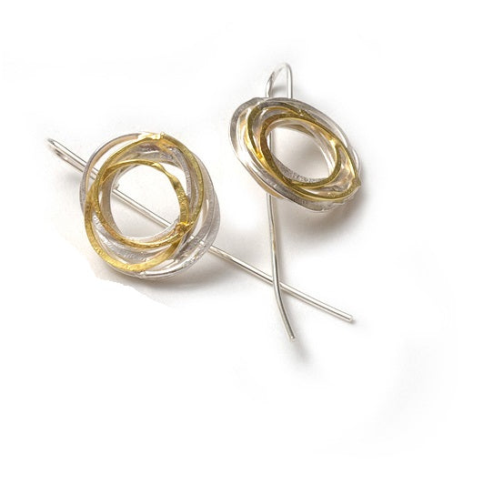 gold and silver wrap earrings- sterling silver and 18ct gold