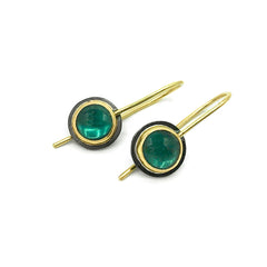 Brazilian Green Tourmaline Gold and Silver Drop Earrings