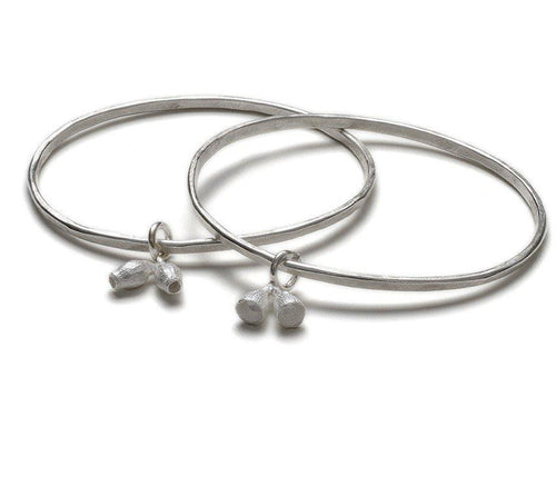 Double Bell Gum Nut bangle in sterling silver
