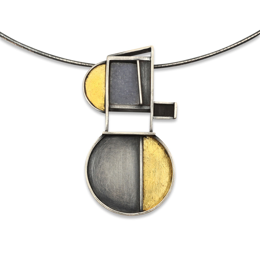 Half Moons Necklace in Silver and Gold With White Quartz Druzy and Ebony Wood