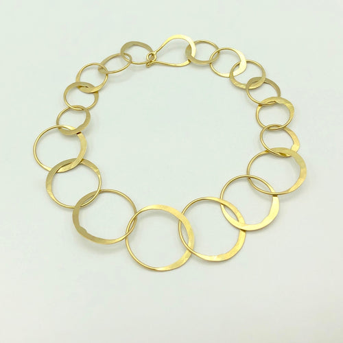 18k Gold Link Bracelet Hand-forged 7""