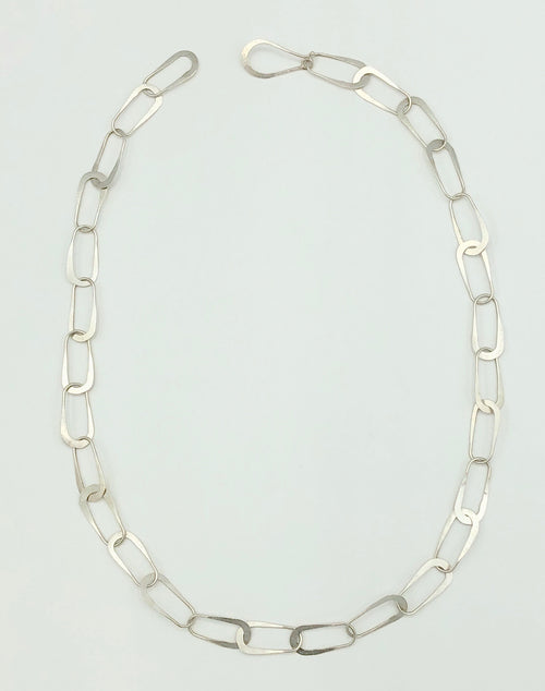 Hand Forged Aria Link Chain in Sterling Silver