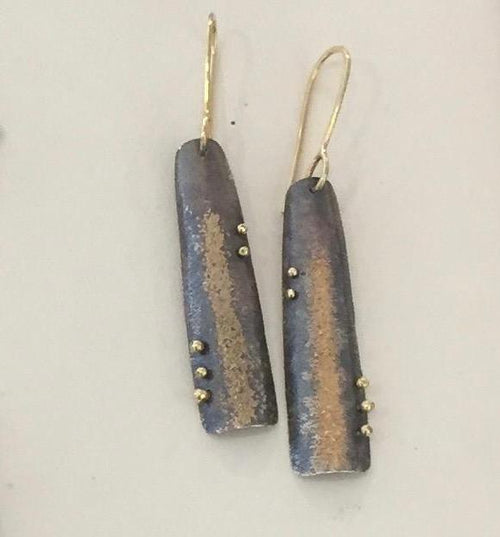 18k Gold and Oxidized Silver Earrings - Lireille