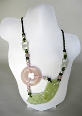 Shou Jade, Rose Quartz, Fresh Water Pearls, Green & Pink Chinese Silk Knots Necklace