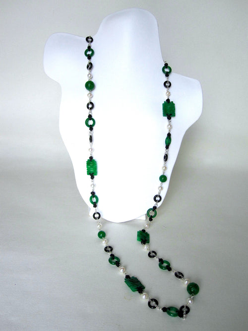 Jade, Black Agate, Fresh Water Pearls, Black Silk Knots Necklace