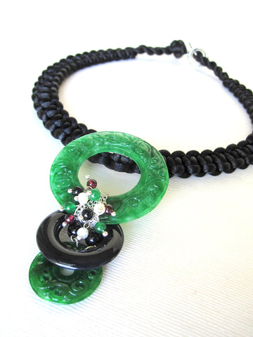 Natural Jade  Black Silk Chain & Knots Necklace