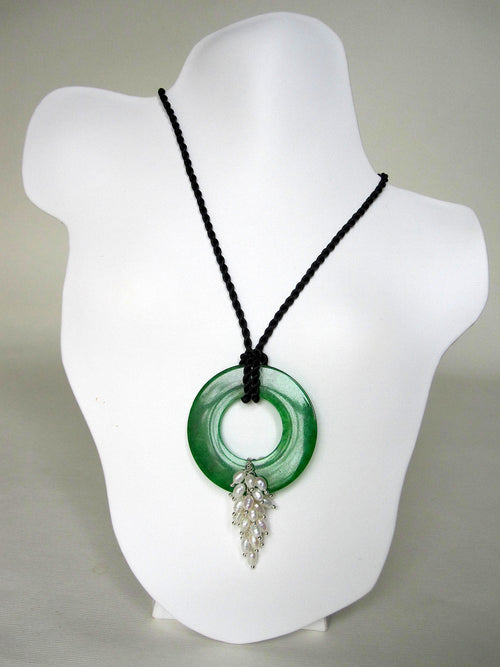 Jade, Fresh Water Pearl, Black Silk Chain & Knots Necklace