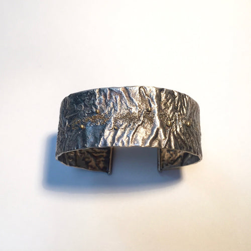 Reticulated silver forged cuff with 18k gold accent