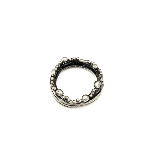Oxidized Sterling Silver  Branch Ring with Pebbles