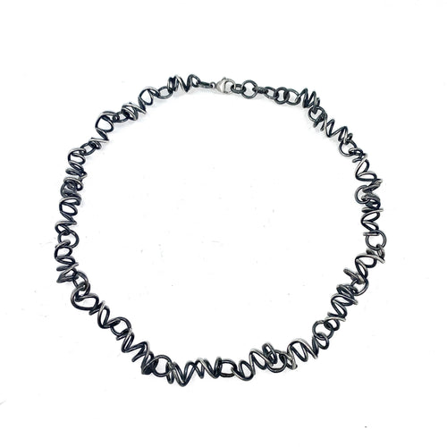 Oxidized Silver Sketch Necklace