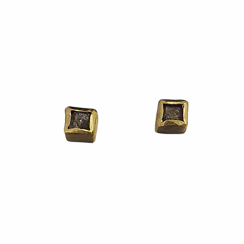 18k Gold Raw Diamond Cube Earrings