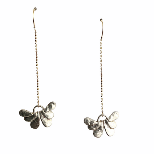 14k gold and silver butterfly threader earrings