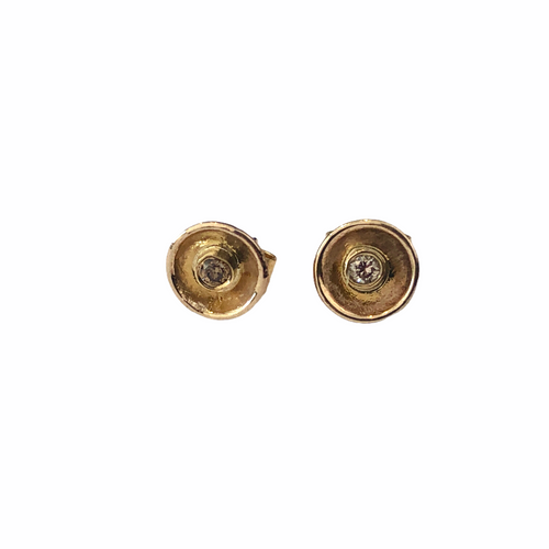 9kt Gold Acorn Cup Studs with Champagne Diamonds