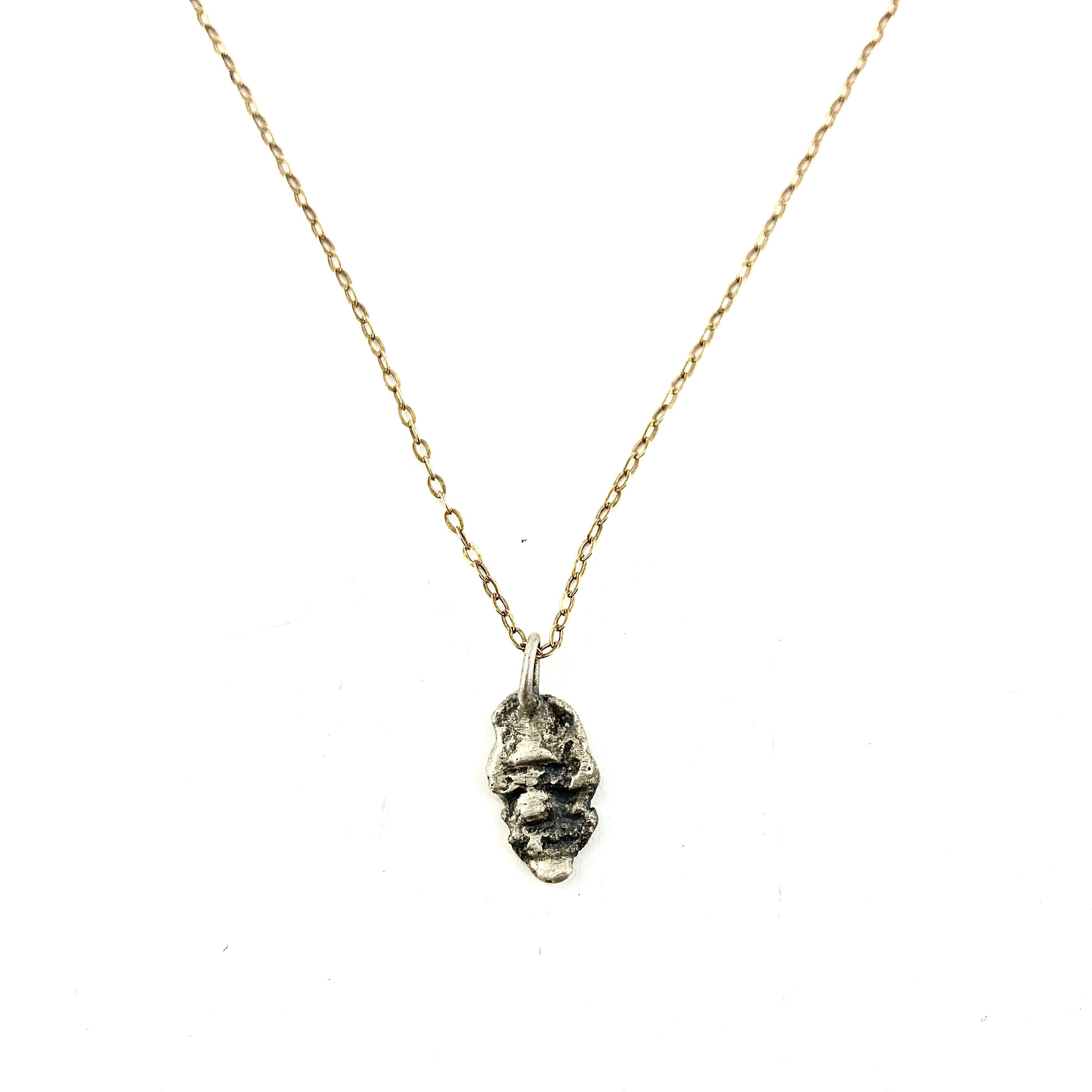 Talisman necklace with 18k vermeil chain and distress textured sterling pendant