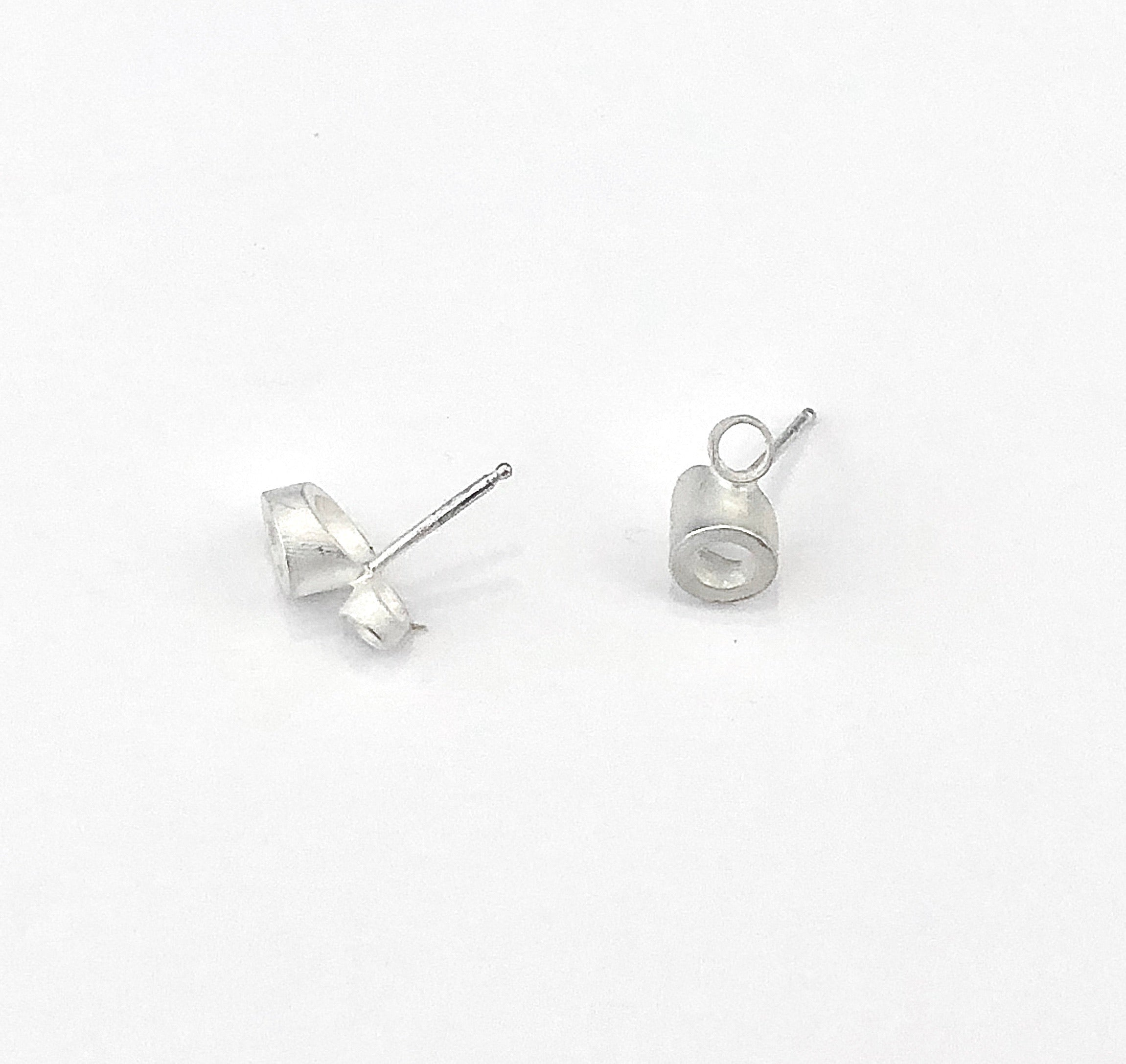 Double Angled Tube Post Earrings in matted silver