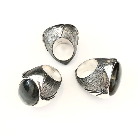 Two-finger Leaf Ring in Argentium Silver