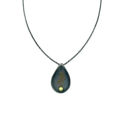 Peridot Silver Drop Pendant with 18k Gold