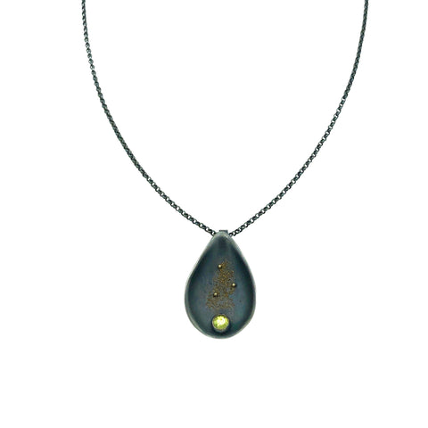 Halo Silver and Enamel Double Medium Drop Necklace