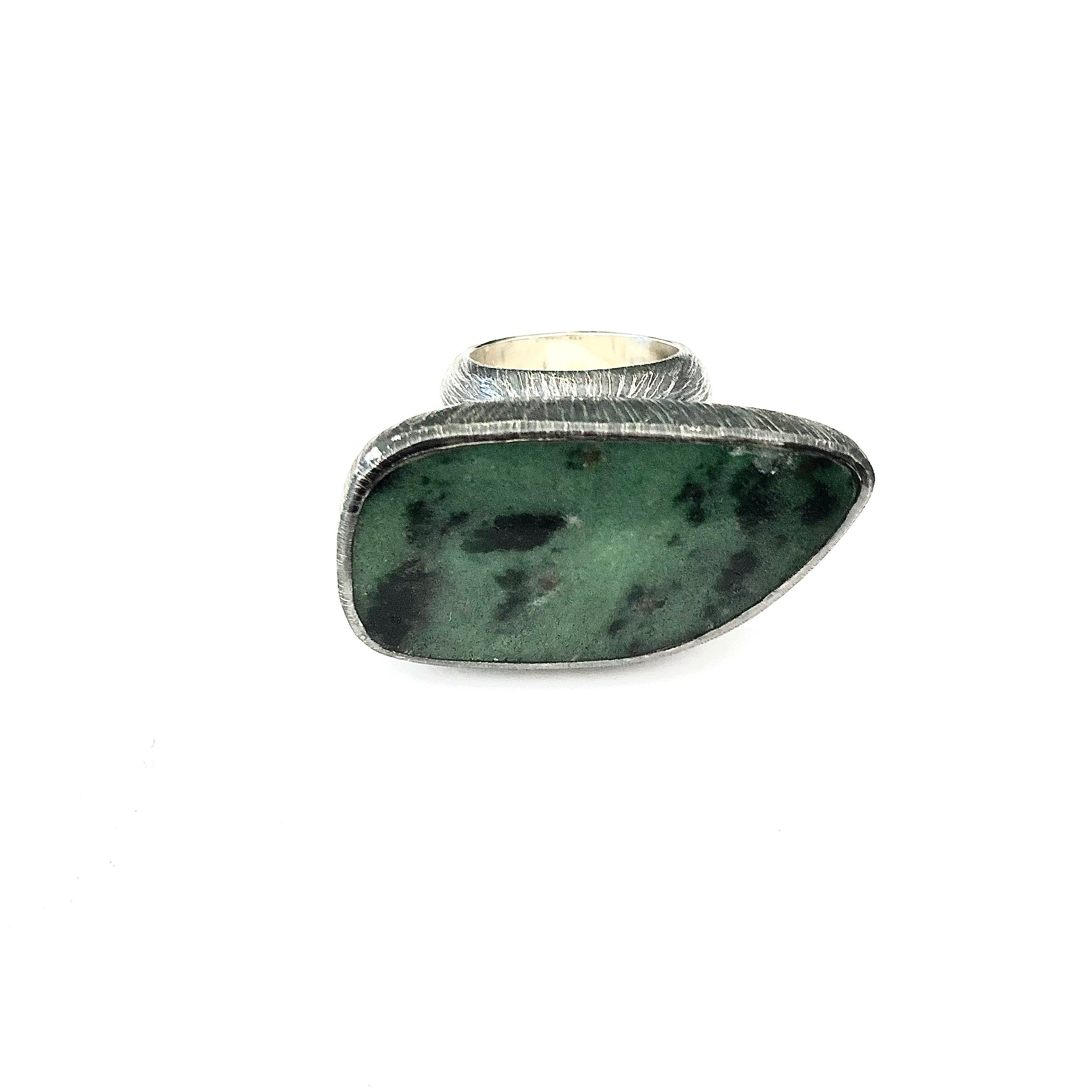 Ruby Zoisite Ring Etched Texture in Sterling Silver