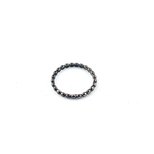 Stacking Beaded Ring in oxidized sterling silver