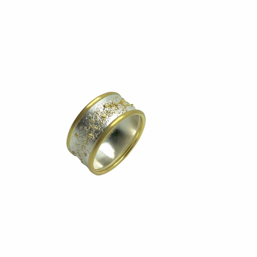 Double 18k gold rings fused to Argentium sterling silver band fused with 18k gold dust