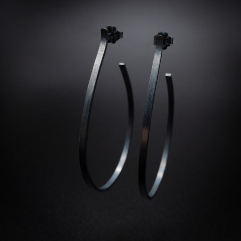 Cut Stone Hoops Sterling Silver Earrings