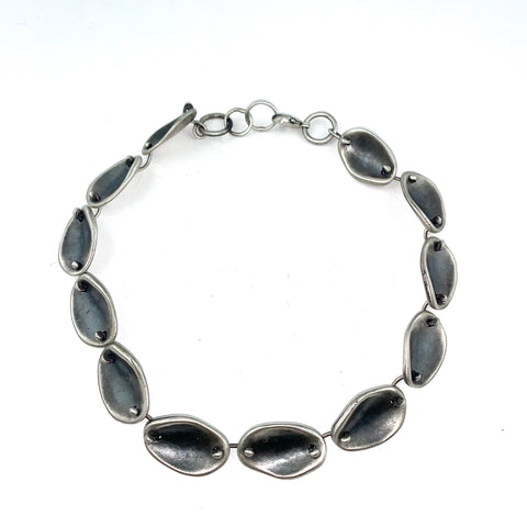 Sterling Silver Oxidized 8.7mm Beveled Cable Chain Bracelet