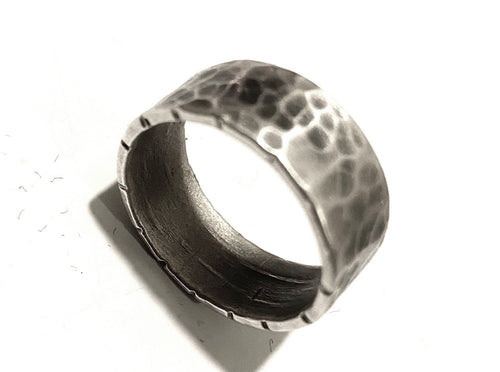 Hammered Wide Band with Notched Edges