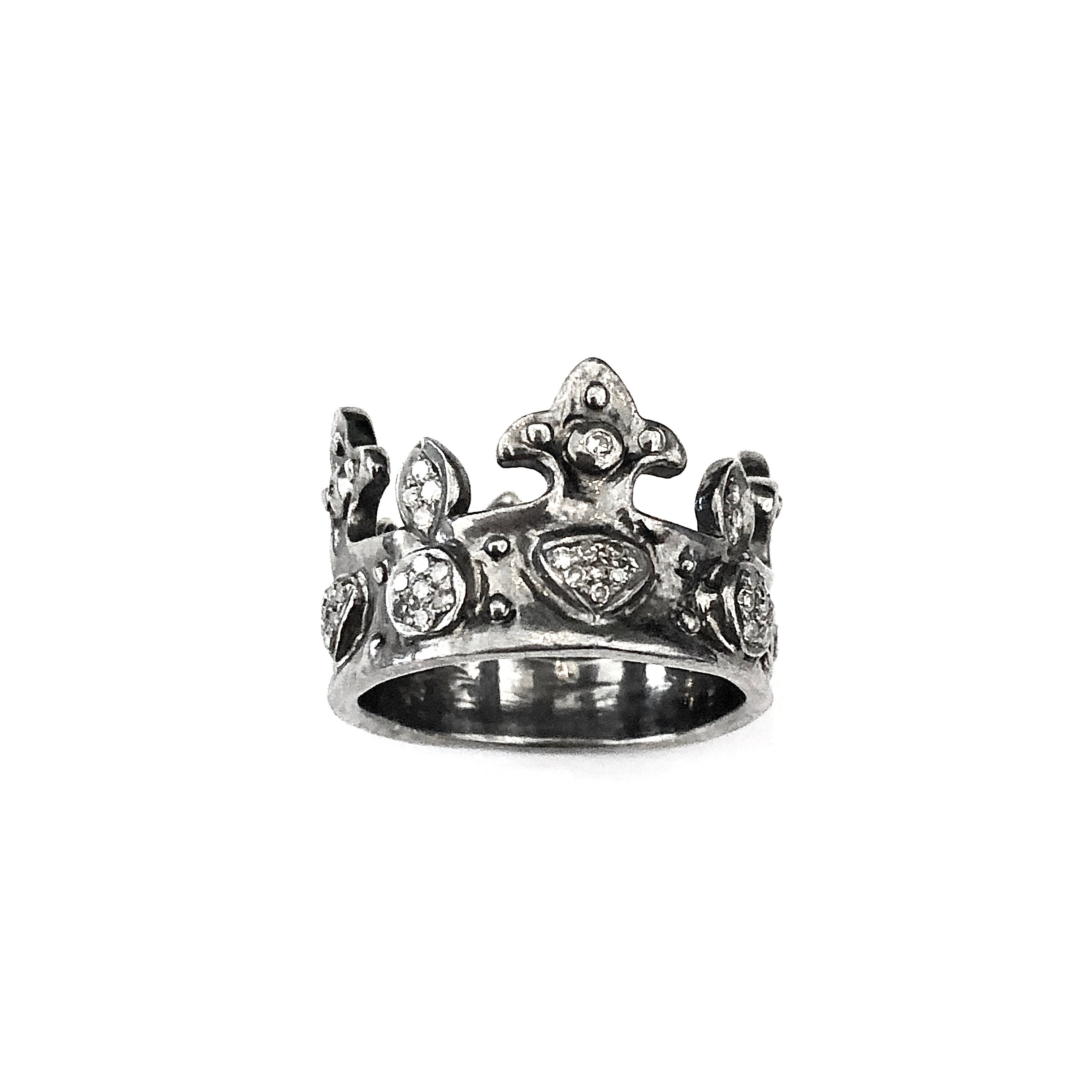 Diamond Crown Ring in Oxidized Sterling Silver