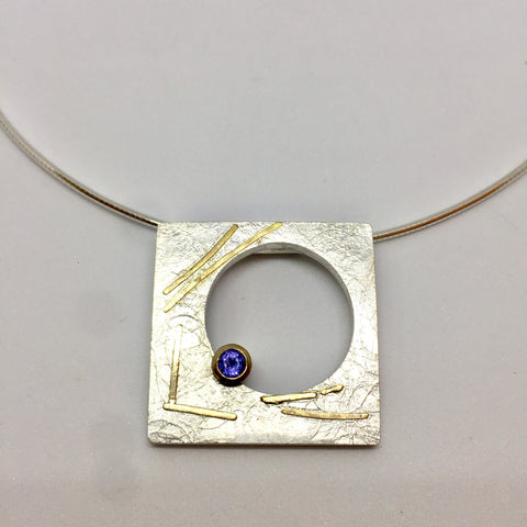 24k Gold Blue Topaz Abstract Sculptural Pendant