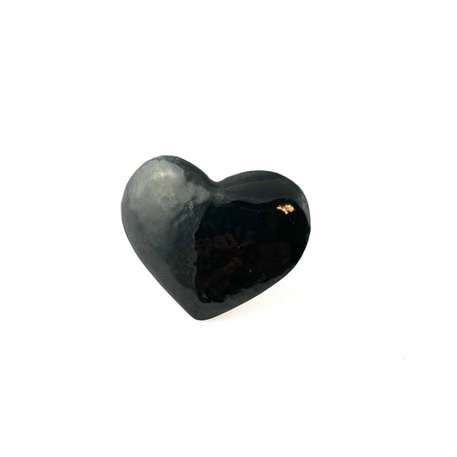 Black Enamel Fearless Heart Pin or Brooch