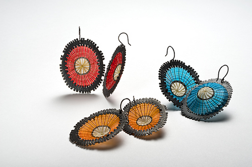 Orange Volcan Earrings