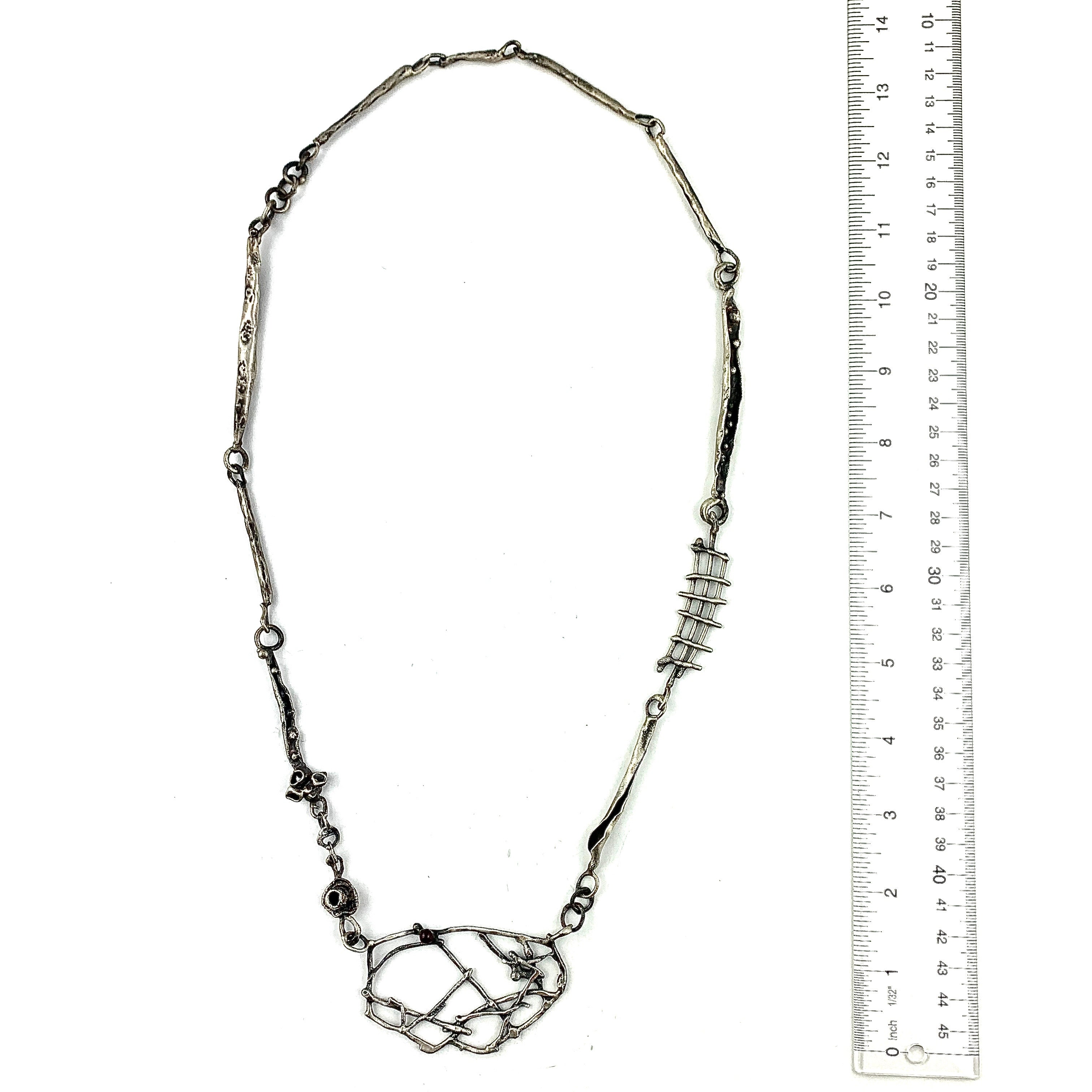 Sculptural Long Necklace with Garnet