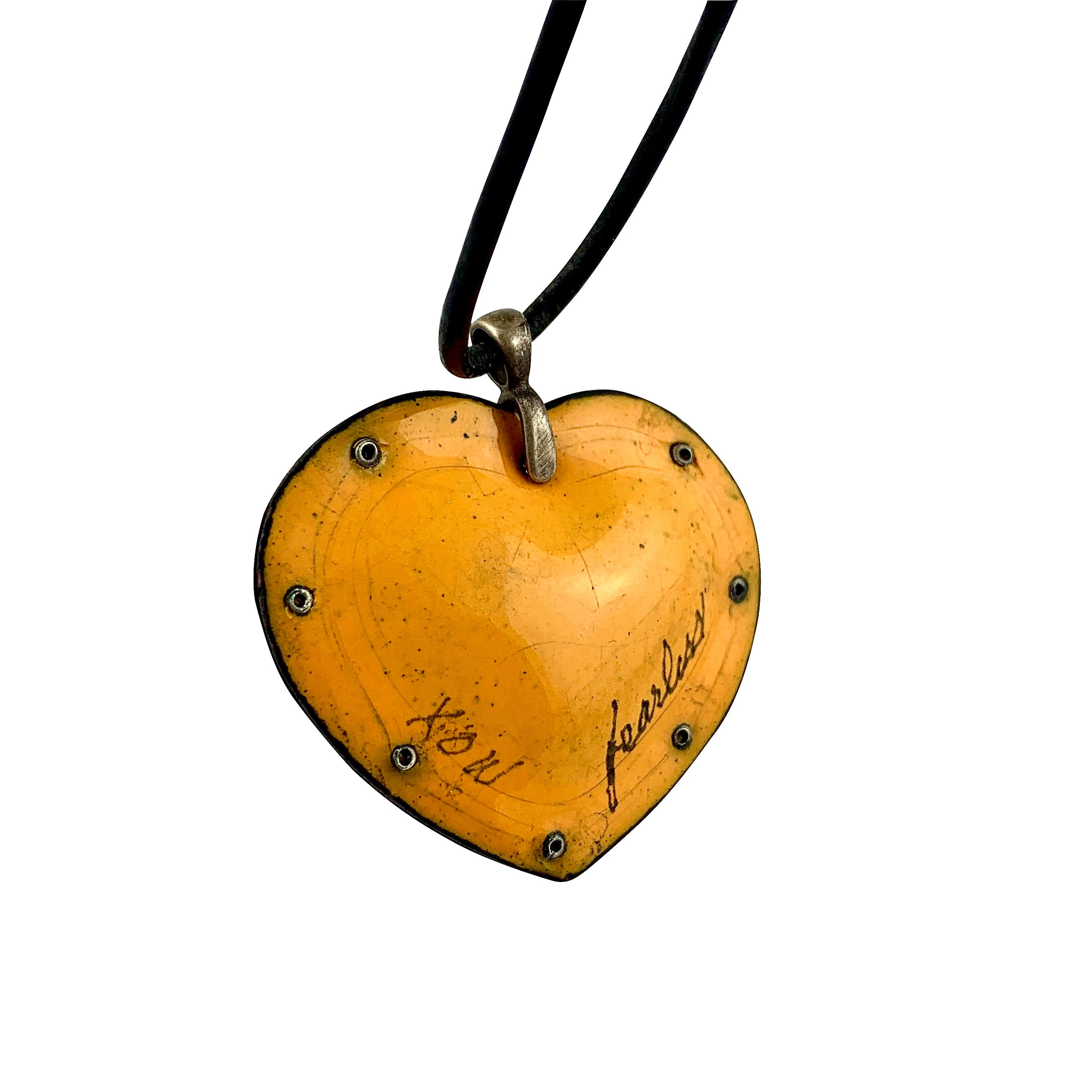 Fearless Heart Yellow Enamel Pendant